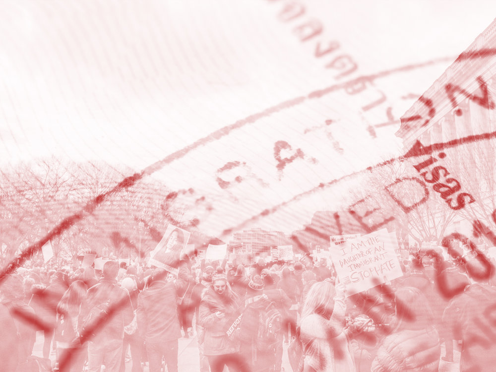 Immigration stamp image by Karn Bulsuk CC BY-NC. Protest photograph public domain. Modified by Dawson Vosburg.