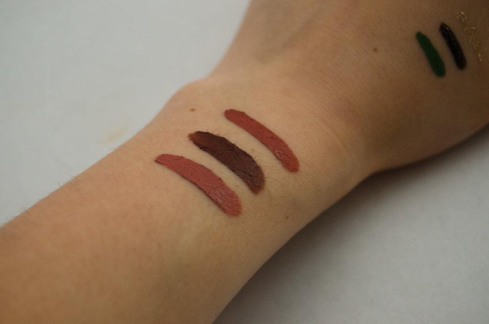 NYX Lip Lingerie Liquid Lipsticks. L-R: Bedtime Flirt, Teddy, Ruffle Trim