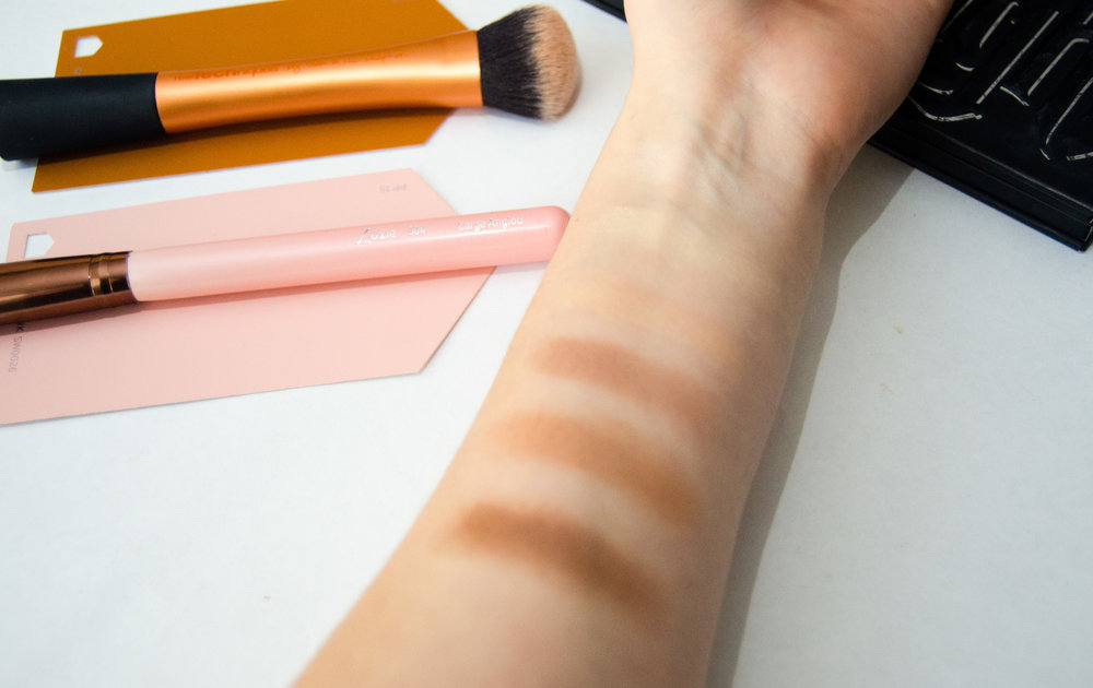Kat Von D Shade & Light Contour Palette swatches. From L-R: Subconscious, Shadowplay, Sombre, Levitation, Lyric, Lucid