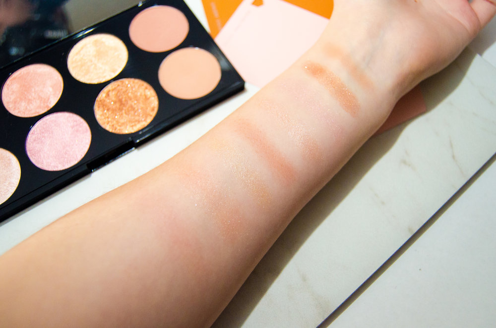 Swatches of the Makeup Revolution Golden Sugar 2 Rose Gold blush palette