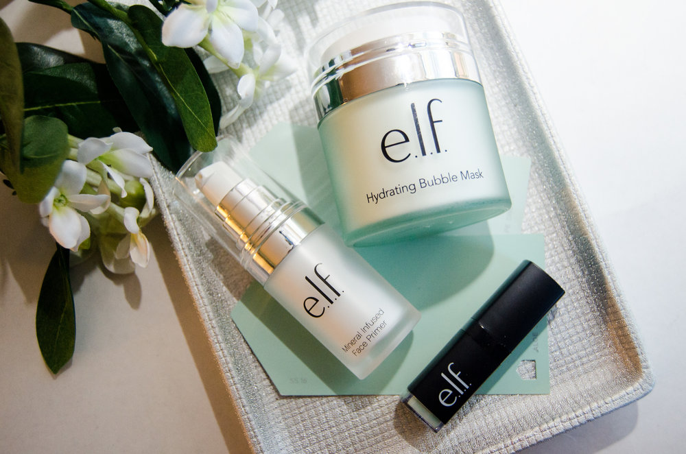 Elf Mineral Infused Face Primer, Hydrating Bubble Mask, and Lip Exfoliator in Mint Maniac