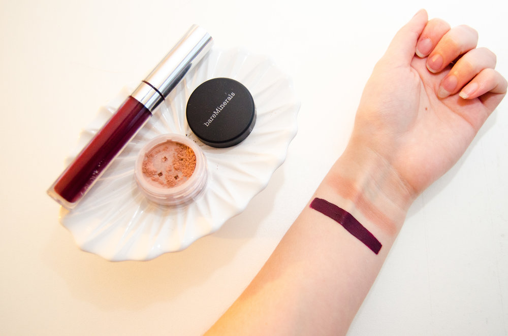 Swatches L-R: Colourpop Ultra Satin Lip in Hutch, bareMinerals All Over Face Color in Bare Radiance