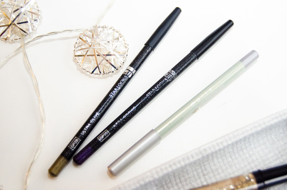 From L-R: Starlooks Gem Eye Pencil in Ultra Olive, Starlooks Gem Eye Pencil in Ultra Orchid, Mally Beauty Evercolor Starlight Waterproof Liner in Starshine