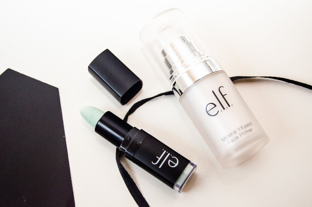 Elf Lip Exfoliator in Mint Maniac and Elf Mineral Infused Face Primer