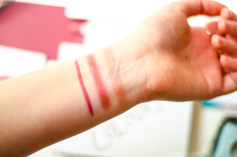 Swatches left to right: Lumiere Lippie Pencil, Pinky Promise, Birthday Girl
