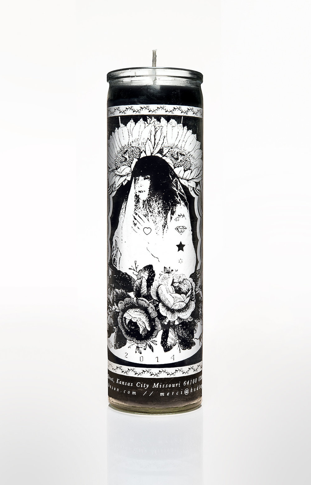 hadley prayer candle, 2014  original portrait: lauren thurman-king  graphic design: kelly clark