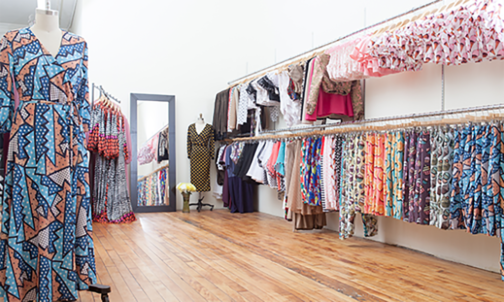 Rue 107's NYC garment district showroom.