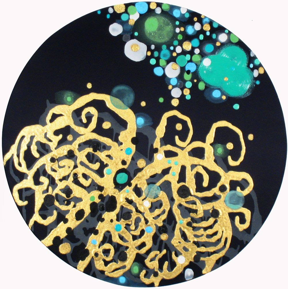 Brook No Babble ,   2011, Acrylic on silk, 24 in. diameter.  Dixon Advisory Corporate Collection