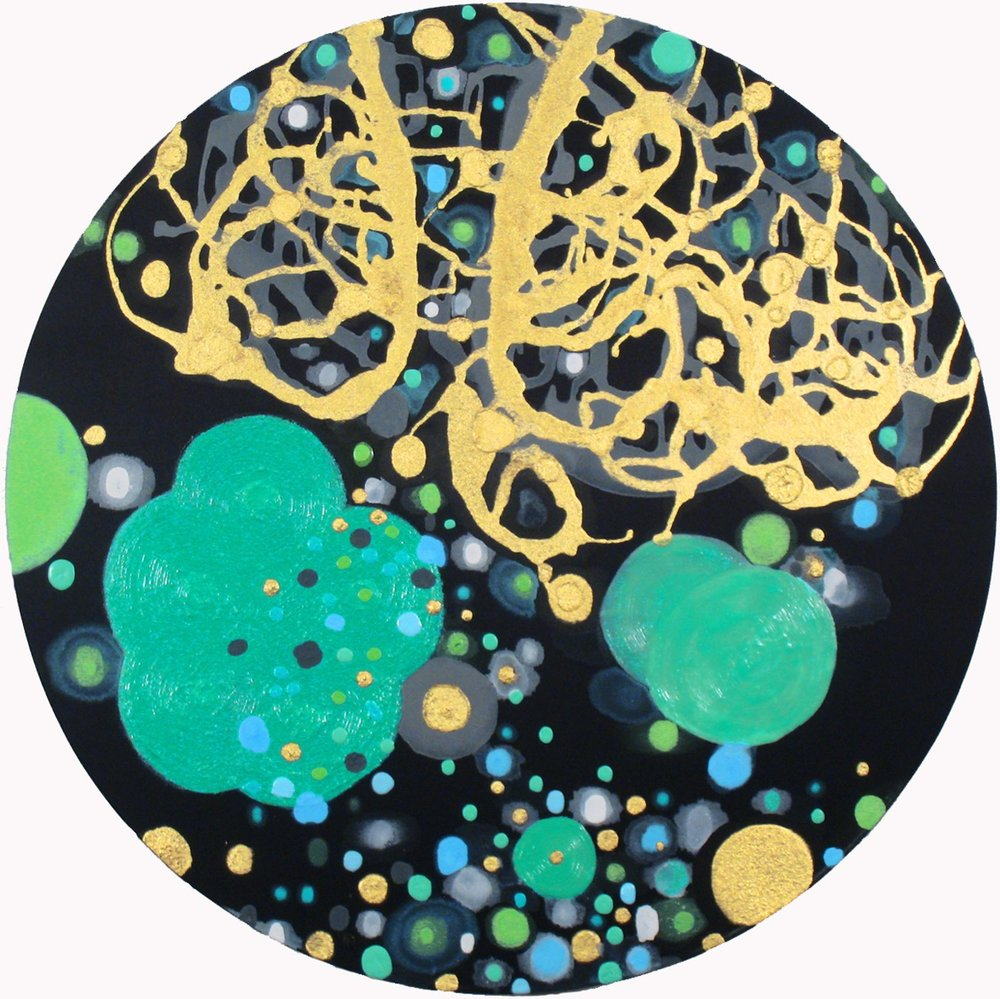 Alpha by SW ,   2011, Acrylic on silk, 24 in. diameter.  Dixon Advisory Corporate Collection