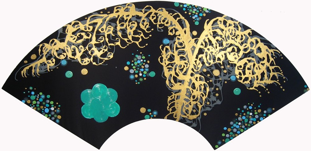 Midnight Bloom ,   2011, Acrylic on silk, 38 x 79 in.  Dixon Advisory Corporate Collection