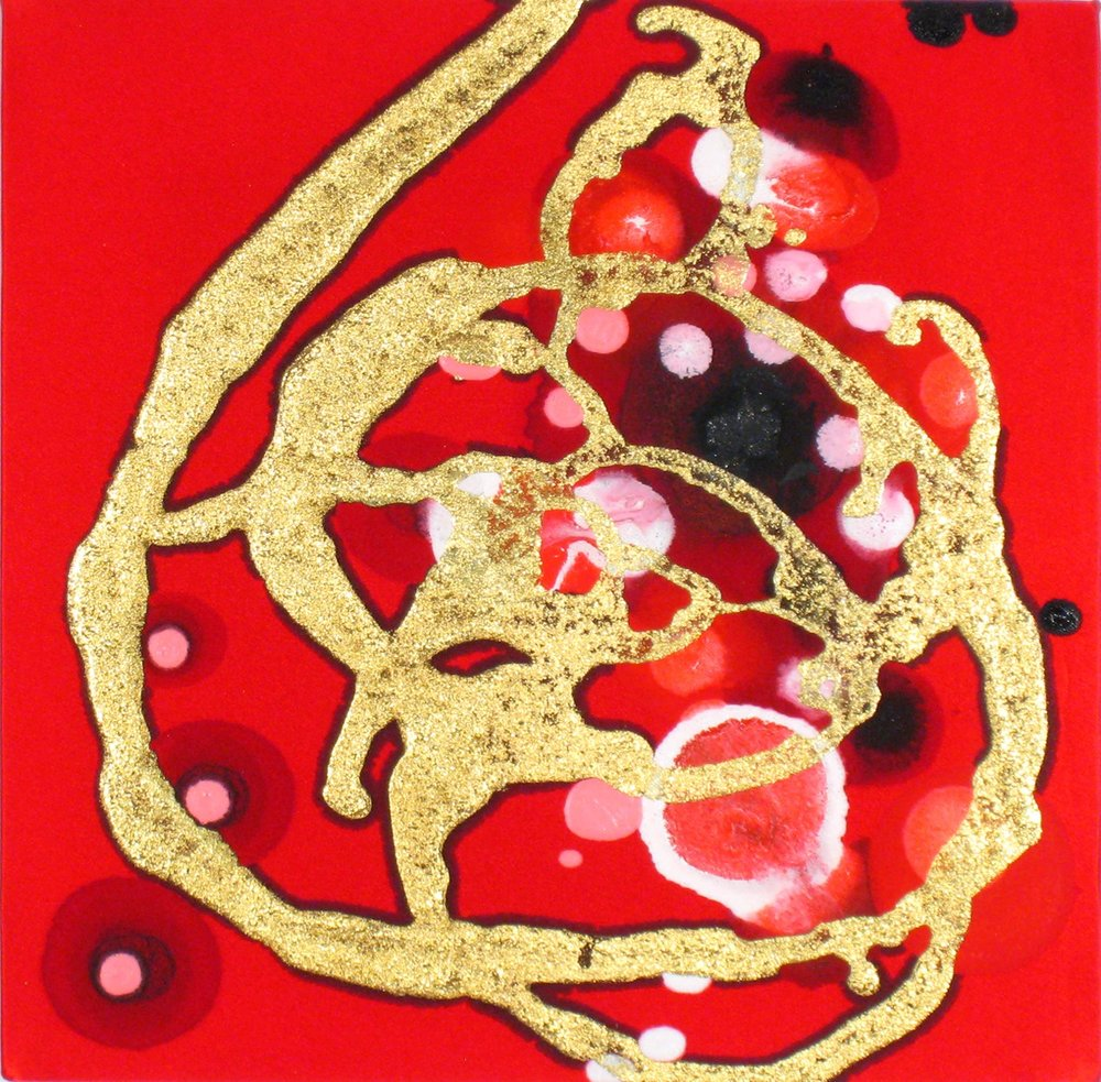 Wee Whorl  , 2009, Acrylic on silk, 10 x 10 in.  MacLachlan Collection