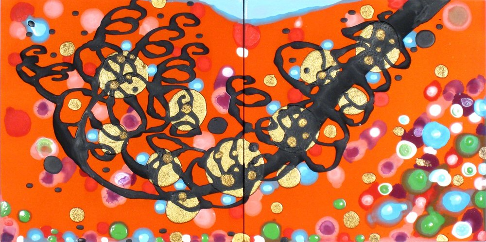 Extend the Epiphanies (diptych)  , 2009, Acrylic on silk, 12 x 24 in.