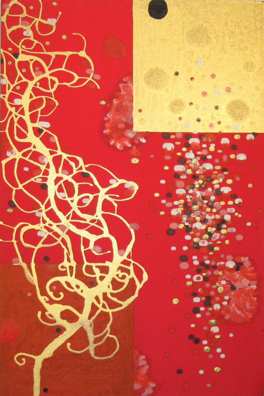 Aspire the Numinous  , 2008, Acrylic on silk, 36 x 24 in.