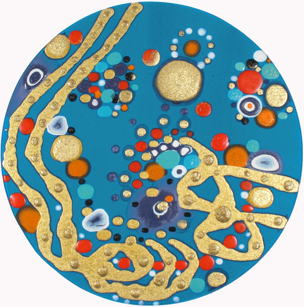 Catching     Correlations  , 2010, Acrylic on silk 12 in. diameter,  Collection of Monsoon Bissell