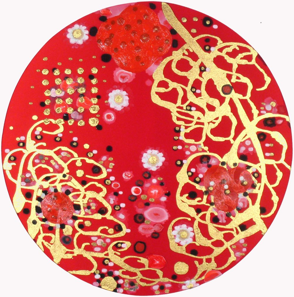 Boon  , 2010, Acrylic on silk, 24 in. diameter.  Collection of John Kiang and Susan Lau