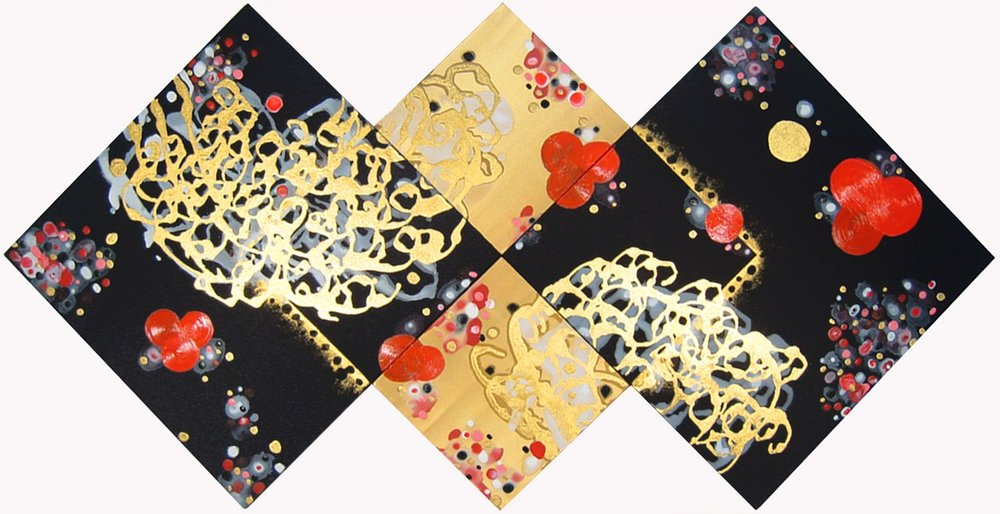 What's Not Between Either Or (tetraptych)  , 2010, Acrylic on silk, 33.5 x 67 in.