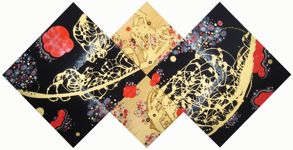 Double Up (tetraptych)  , 2010, Acrylic on silk and satin, 55.75 x 111.5 in.