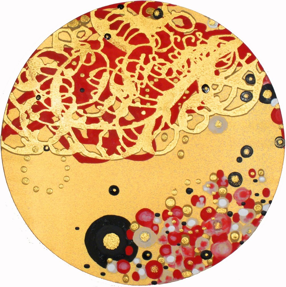 Reign O'er Me  , 2009, Acrylic on satin, 24 in. diameter,  Collection of Pedro Suter