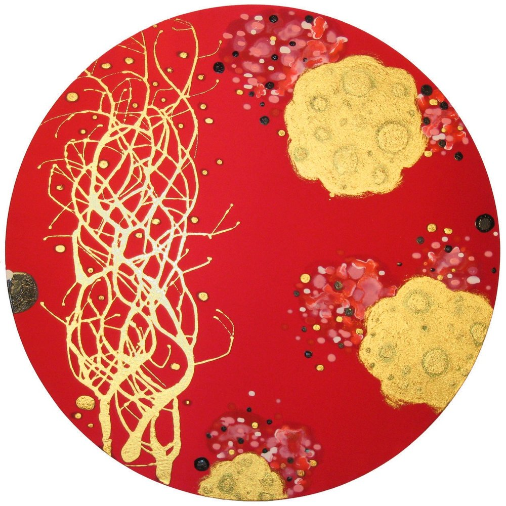Kindle and Blossom  , 2008, Acrylic on silk, 36 in. diameter