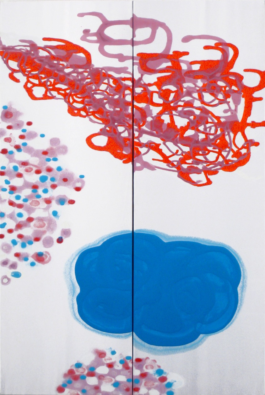 Earth Wind and Fire (diptych)  , 2007, Acrylic on satin, 36 x 24 in.