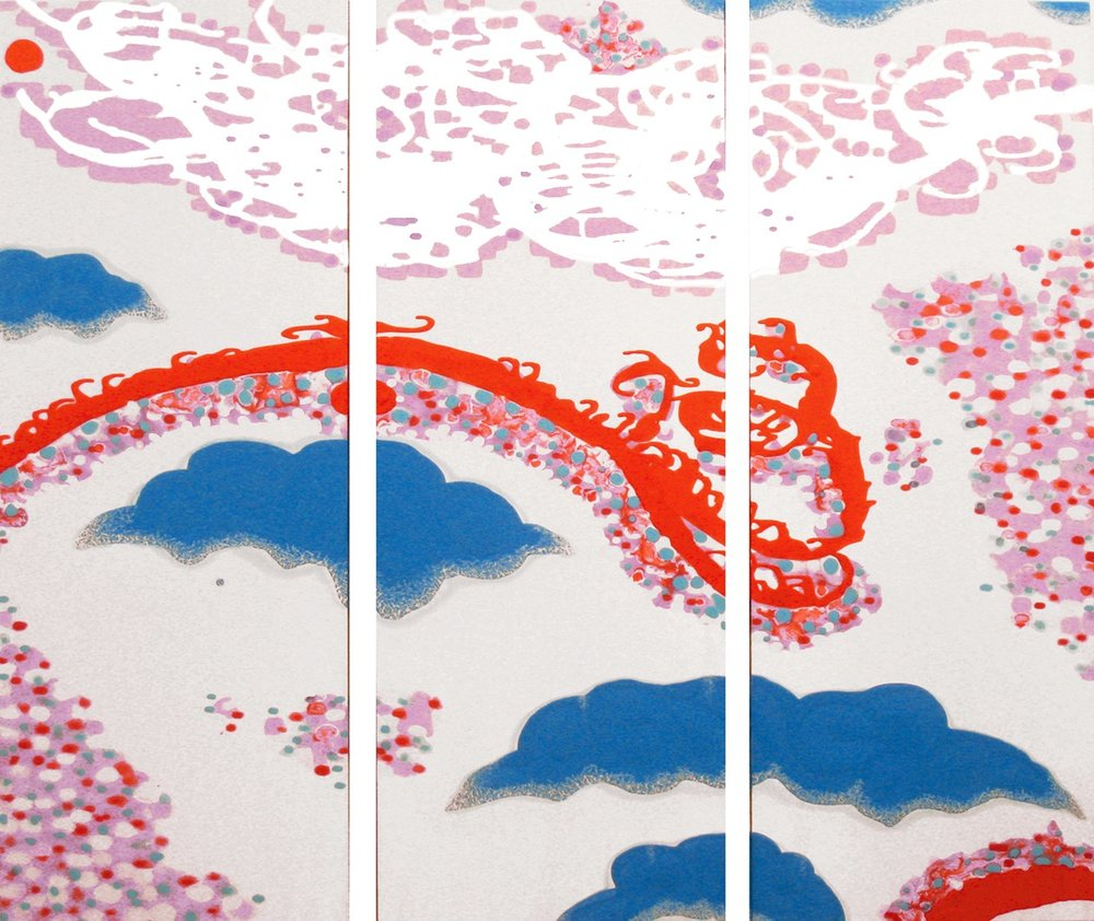 Chimera's Crossing (triptych)  , 2007, Acrylic on satin, 48 x 57 in.  The Collection of Lydia and Ray Bartoszek