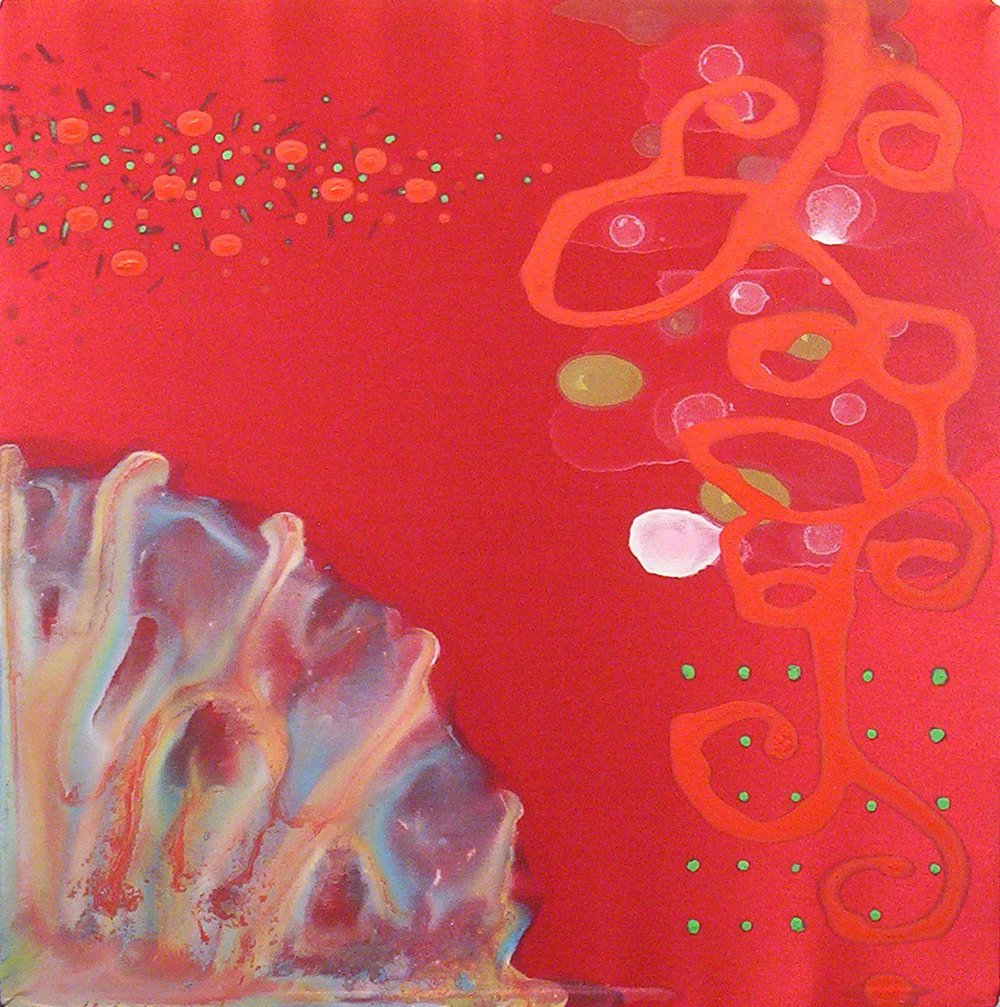 Euphonies  , 2005, Acrylic on silk, 12 x 12 in.  Collection of David Ambrose