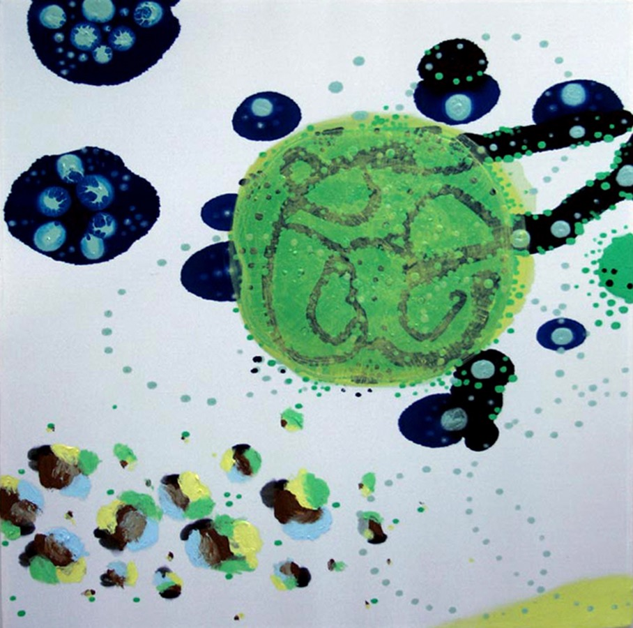 The Orb  , 2004, Acrylic on silk, 12 x 12 in.  Maschek Collection