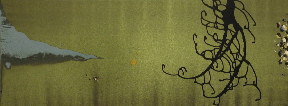Quietude  , 2002, Acrylic on satin, 18 x 48 in.  Collection of Dr. Victor Pwu