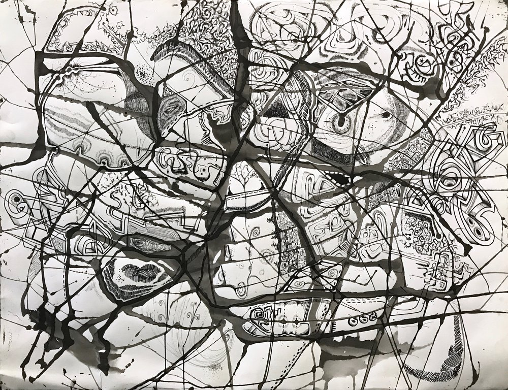 Large Embellished Pouring  , 1997, Ink on Arches.
