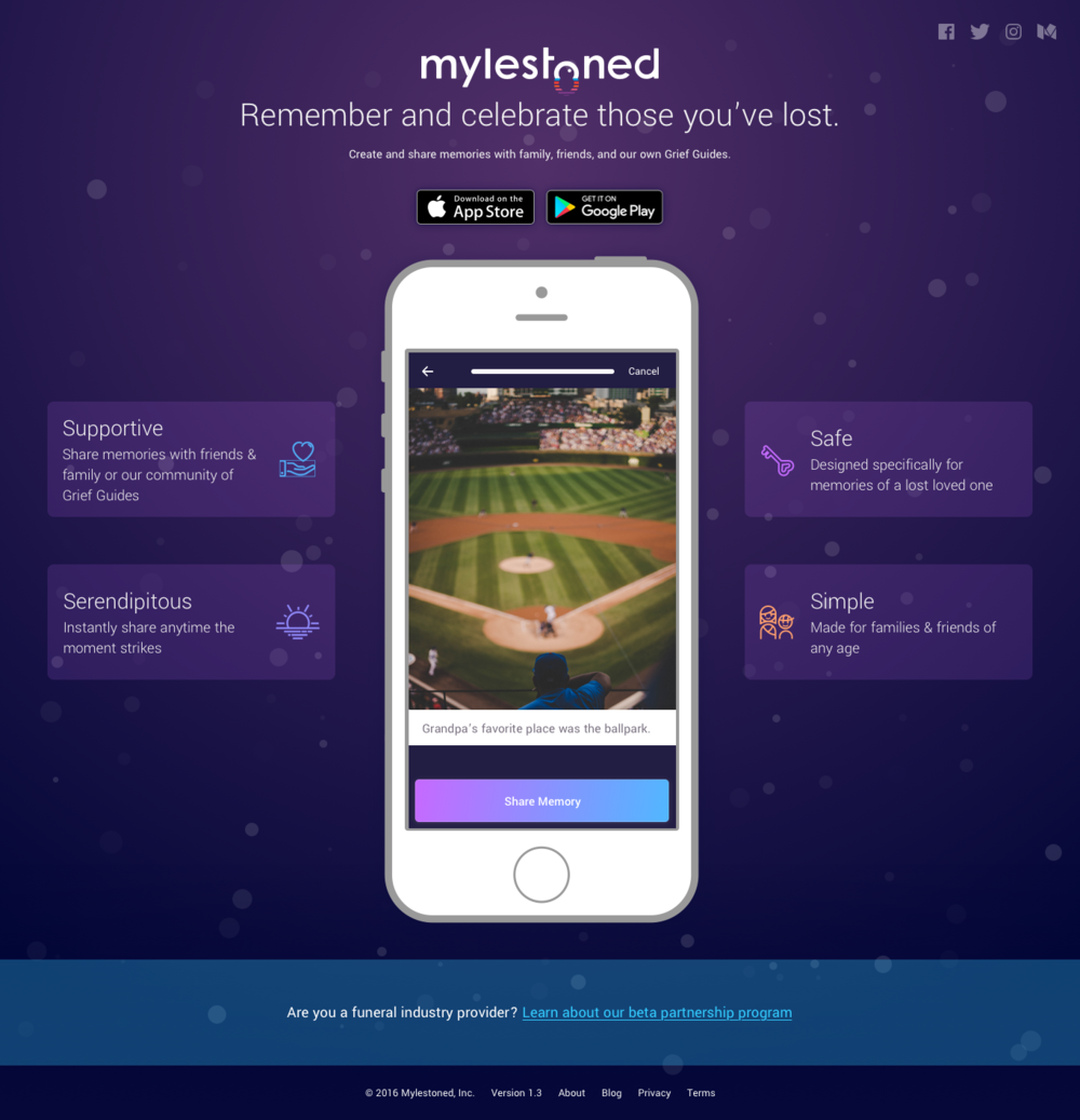 Mylestoned App Splash Page