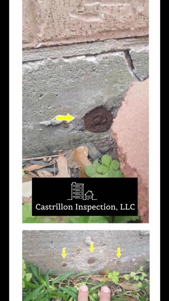 Did you know post tension cables hold your foundation together?  Pictured here: Exposed post tension cable end(s) at one or more locations around the exterior foundation grade beam. This condition allows for moisture to wick into the cable causing rust and possibly loosing its connection from the support clamp.