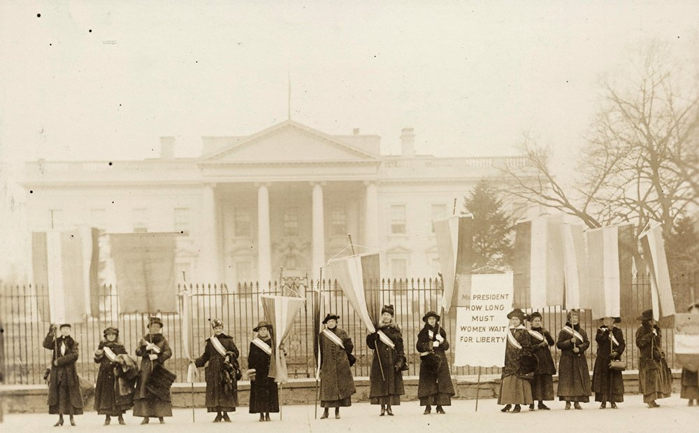 National Woman's Party members, called the Silent Sentinels, picketing the White House in 1917