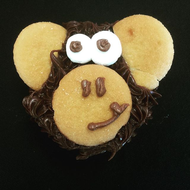 Monkey face cupcakes can be white, chocolate or yellow cake with fudge or vanilla wafers for decoration. #rochester #bakery #cake