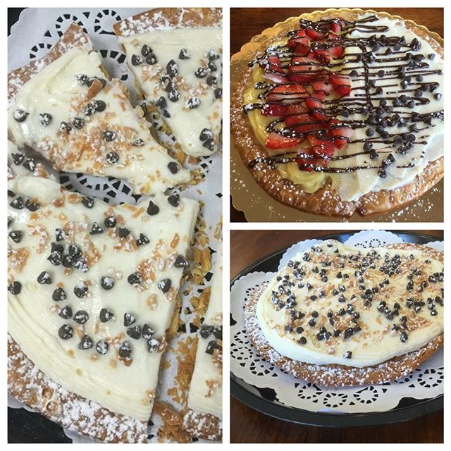 Have you tried our CANNOLI PIZZA? Available in 3 sizes - small, medium and large - it consists of a cannoli crust topped with your choice of Italian cream or ricotta cheese topping. Additional toppings available- chocolate chips, nuts , sprinkles, fresh sliced strawberries and chocolate drizzle. #cannoli #pizza #rochester #bakery