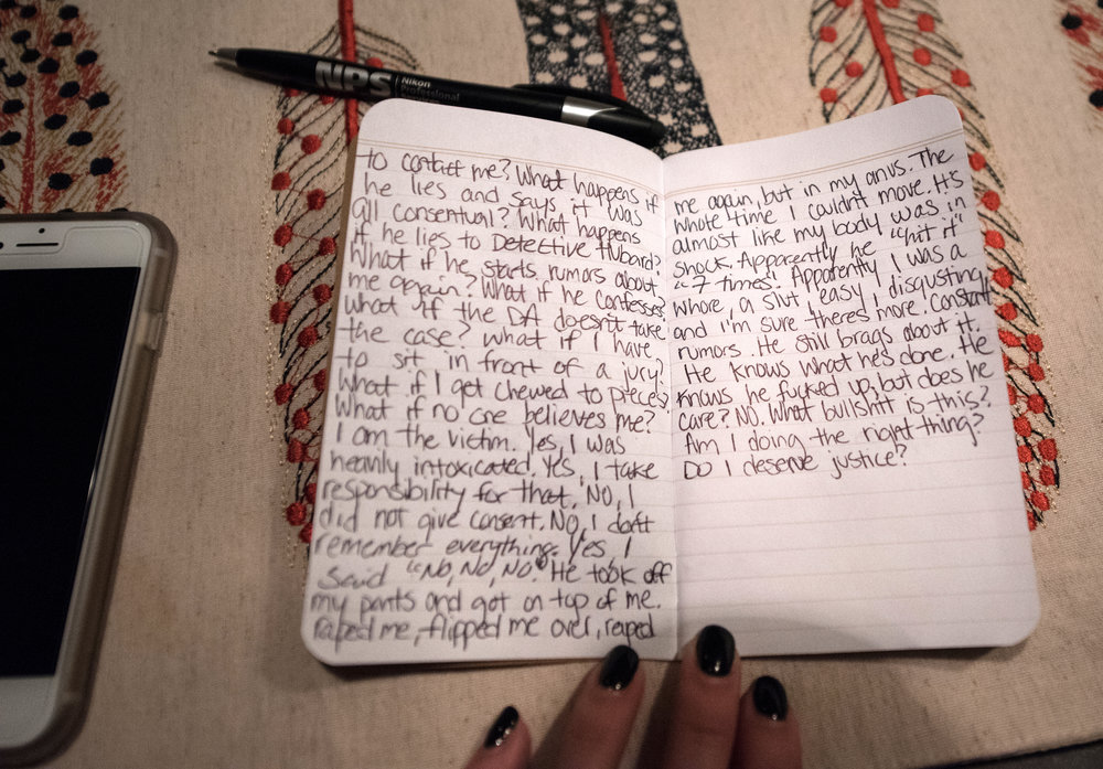 """I wrote my thoughts down in a notebook after my interview with the detective on March 8, 2017 in my home in Raleigh, North Carolina. """"I'm so uncertain about the next 24 hours"""", I wrote."""
