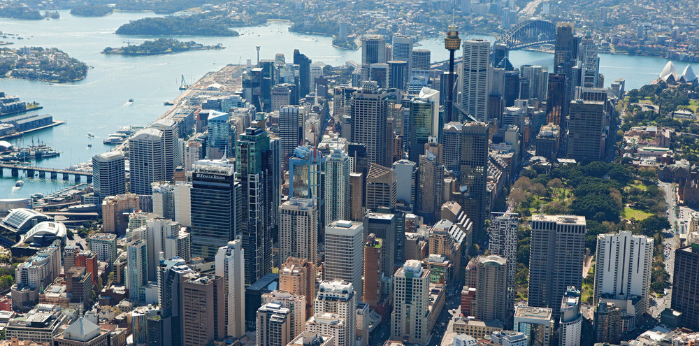 Aerial shot of the Sydney CBD