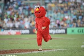 It's Elmo the pitch invader!