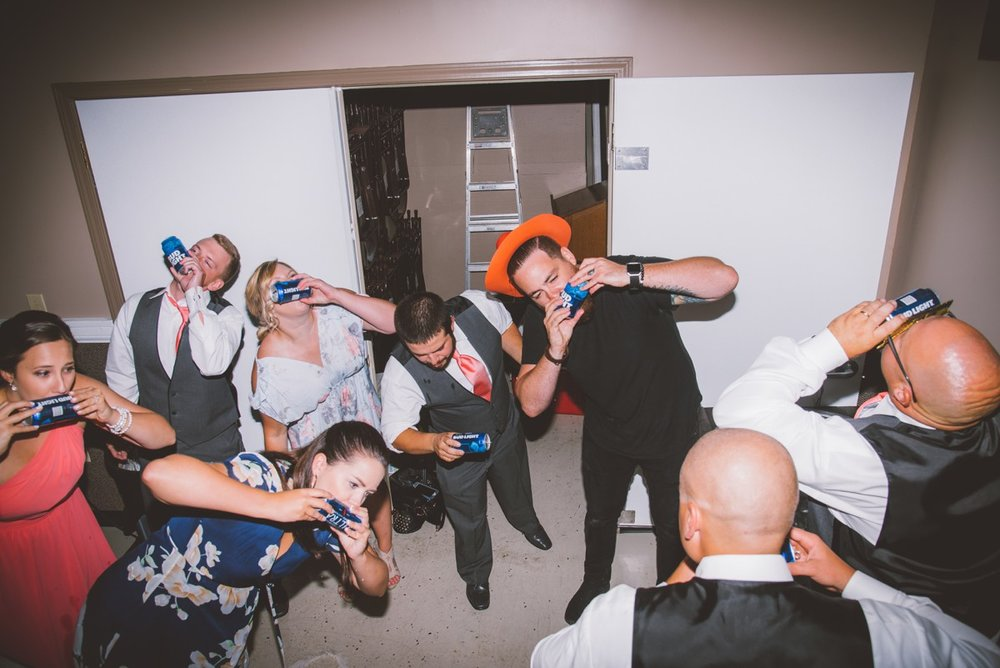 And in true Shay fashion, him convincing the wedding party to do a beer chug.