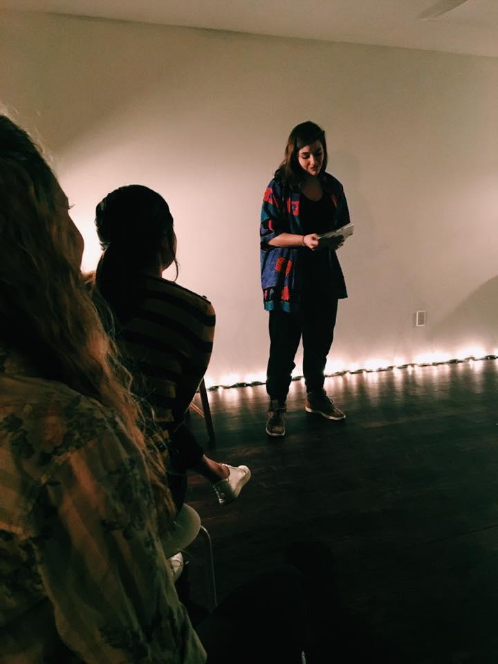 Kat Durel sharing poetry.