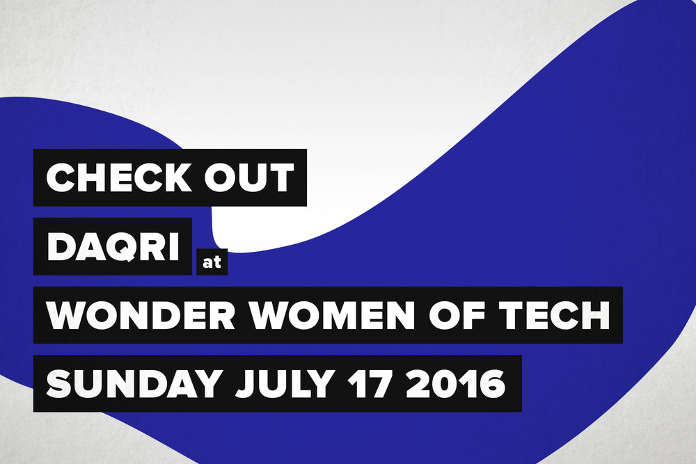 Graphic Design for Wonder Women of Tech, party invite Created with Photoshop.