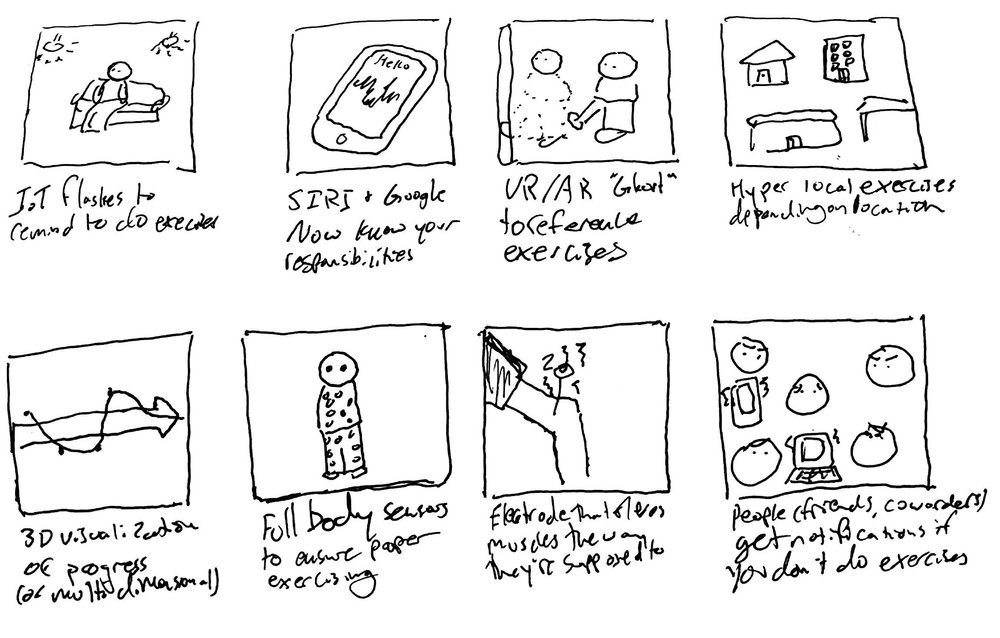 Examples of first round thumbnail sketching.