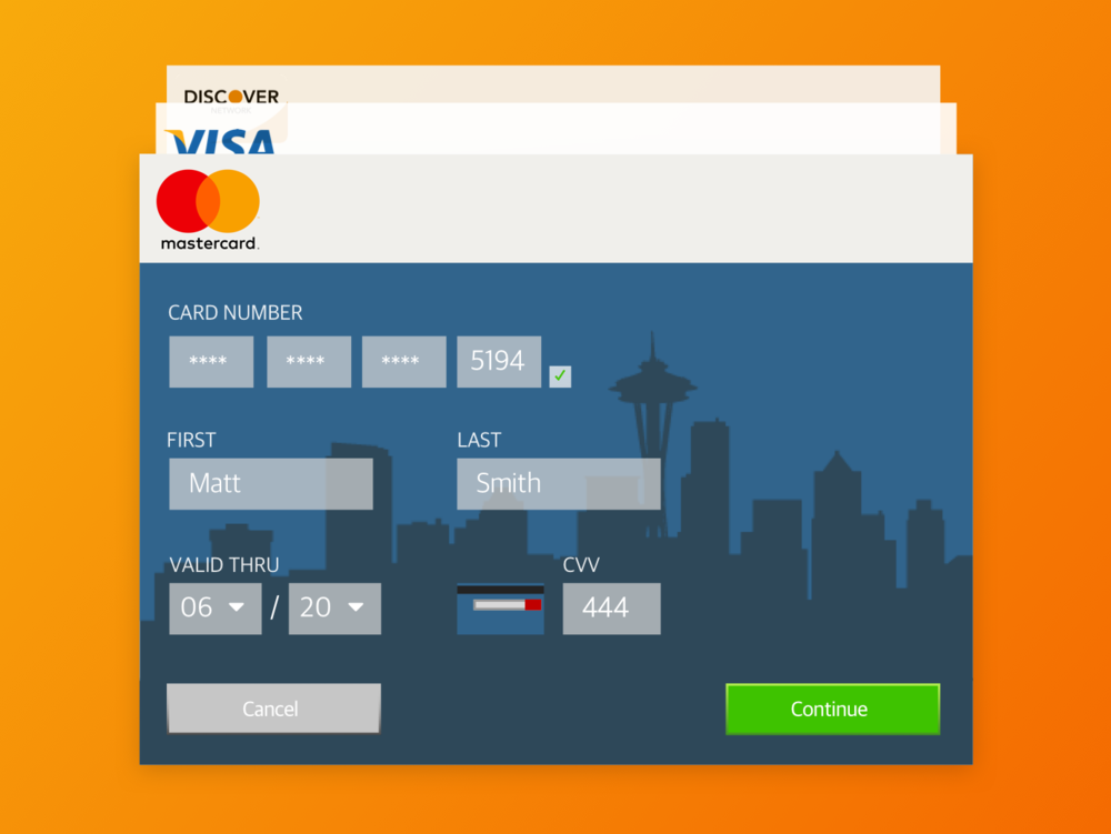 Credit card information page.