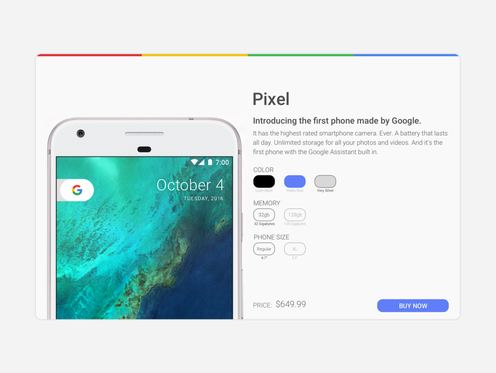 Purchase page for the Google Pixel.