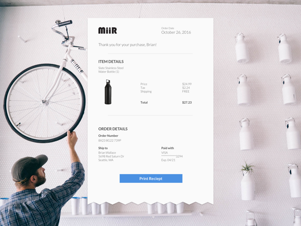 Online receipt for bottle.