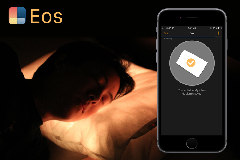 Eos' alarm begins to gently but effectively wake this sleeper.
