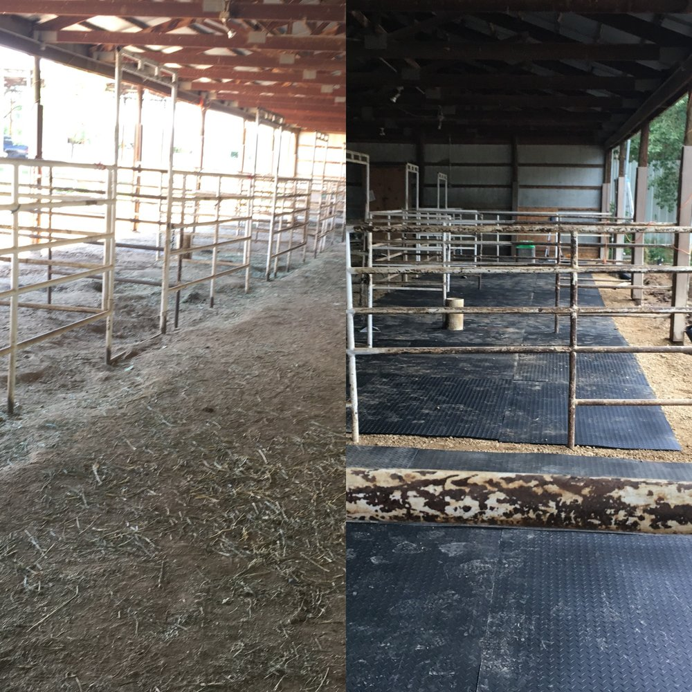 Before and after picture of stalls