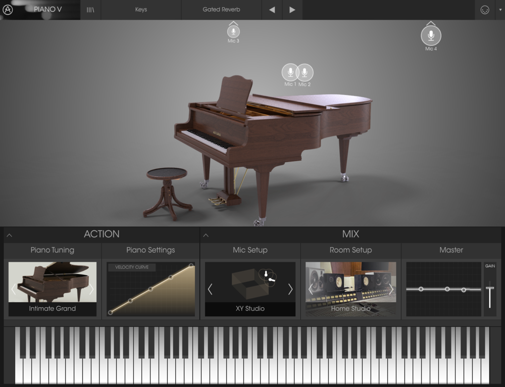 Piano V erbjuder olika slags akustiska pianon via fysisk modellering.