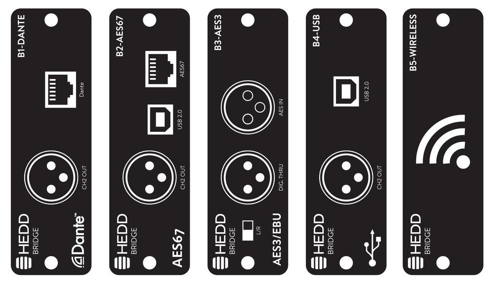 Fem expansionskort är planerade idag, både för AES och USB men även för nätverkssystem och Bluetooth. Priserna varierar.