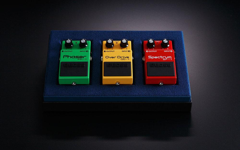 Från vänster: PH-1 Phaser, OD-1 Overdrive och SP-1 Spectrum.