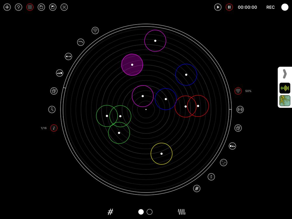 De olika zonerna i Polys pricktavleliknande och spindelvävstunna gränssnitt representerar olika taktslag. De olikfärgade noderna läggs där man vill ha dem, och representerar de fem olika rösterna.
